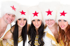 Smiling dancer team wearing a cossack costumes. Smiling dancer team wearing a folk ukrainian cossack  costumes dancing.  Isolated on white background in full Stock Images