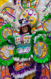 Smiling, dancing troope leader in brightly colored costume, performs in Junkanoo, a traditional island cultural festival in Nassau Stock Photography