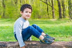 Smiling dark-haired boy sitting on a log in the woods stock images