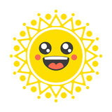 Smiling decorative sun. Symbol shrovetide. Royalty Free Stock Image