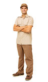 Smiling Deliveryman Standing Arms Crossed Stock Photos
