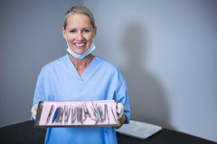 Smiling dental assistant holding tray with equipment in dental clinic. Portrait of smiling dental assistant holding tray with equipment in dental clinic Royalty Free Stock Photos