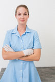 Smiling dental assistant looking at camera Royalty Free Stock Photography