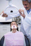 Smiling dentist adjusting light over patients mouth Stock Photos