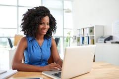 Smiling Designer Using Laptop Stock Photography