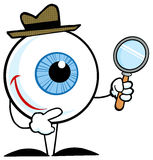 Smiling detective eyeball. Blue eyeball character detective holding a magnifying glass Royalty Free Stock Photos