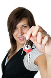 Smiling developer gives keys to new home royalty free stock photos