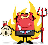 Devil With A Trident And Holding Taxes Bag. Smiling Devil With A Trident And Holding Taxes Bag Stock Image