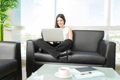 Smiling Director Implementing Strategic Plans In Office Lobby royalty free stock photos