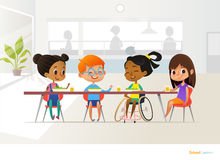 Smiling disabled girl sitting at table in school canteen and talking to her classmates. Children s friendship. Inclusive education. Smiling disabled girl sitting Royalty Free Stock Photos