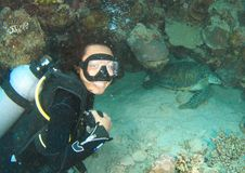 Smiling diver by green turtle royalty free stock photo