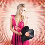 Smiling DJ Woman In Love With Retro Music Stock Image