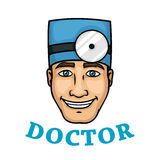 Smiling doctor in blue hat with reflector Royalty Free Stock Images