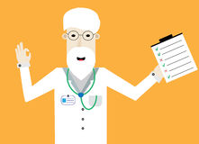 Smiling doctor with checklist shows ok. Smiling doctor with glasses, beard. green stethoscope and checklist into left hand shows ok. Flat design Stock Images