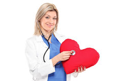 Smiling doctor examining a red heart shaped pillow Stock Images