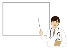 Smiling doctor holding a pointer stick Royalty Free Stock Photos