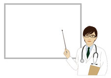 Smiling doctor holding a pointer stick Royalty Free Stock Photo