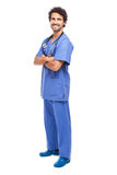 Smiling doctor isolated on white full length Royalty Free Stock Image