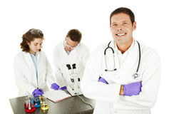 Smiling Doctor in Lab Stock Photo