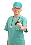 Smiling doctor with medicine isolated Stock Image