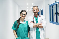 Smiling doctor and nurse portraiture. Stock Photos