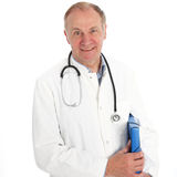 Smiling doctor with patient records Stock Photography