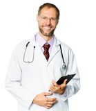 Smiling doctor  with a plane-table Stock Photos