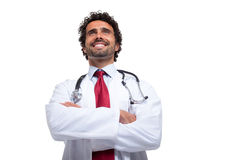 Smiling doctor portrait. Isolated on white Royalty Free Stock Images