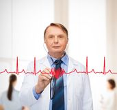 Smiling doctor or professor with stethoscope Royalty Free Stock Photography