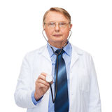 Smiling doctor or professor with stethoscope Stock Photo