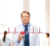 Smiling doctor or professor with stethoscope Stock Images