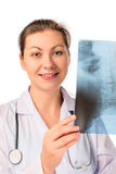 Smiling doctor radiologist with an X-ray Royalty Free Stock Image