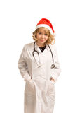 Smiling doctor in a Santa Hat Royalty Free Stock Image