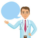 Smiling doctor with speech bubble. Happy physician. Vector Royalty Free Stock Image