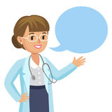 Smiling doctor with speech bubble. Happy physician. Vector Royalty Free Stock Photos
