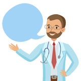 Smiling doctor with speech bubble. Happy physician. Vector Stock Image