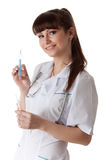 Smiling doctor with stethoscope Stock Photo