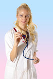 Smiling doctor with syringe Royalty Free Stock Images