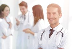 Smiling doctor therapist on blurred background. Stock Photography
