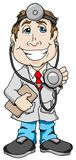Smiling Doctor. Vector illustration of a Smiling Doctor with a clipboard and stethoscope Stock Image