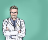 Free Smiling Doctor With Stethoscope Posing With Arms Crossed. Medical Professional Confident And Happy With A Big Natural Smile L Royalty Free Stock Images - 155805909