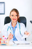 Smiling doctor woman giving medical prescription Royalty Free Stock Photo