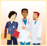 Smiling Doctors. Three Doctors from different ethnicities having a nice chat Stock Photo