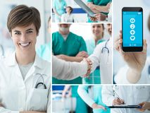 Doctors and medical app photo collage. Smiling doctors working at the hospital and medical app on a touch screen smartphone, photo collage royalty free stock photos
