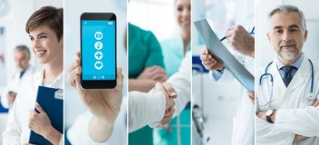 Doctors and medical app photo collage. Smiling doctors working at the hospital and medical app on a touch screen smartphone, photo collage royalty free stock photo