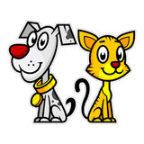 Smiling Dog and Cat Stock Image