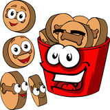 Smiling Dog food and bucket Royalty Free Stock Photo
