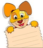 Smiling dog with a sheet of notebook Royalty Free Stock Photography