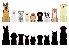 Smiling dogs border set. Smiling dogs border with silhouettes Royalty Free Stock Photography