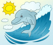 Smiling dolphin jumping 6 Stock Image